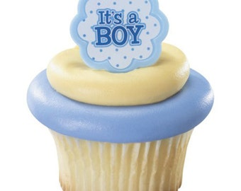 Its a boy rings, baby cupcake picks toppers, newborn cupcakes party, blue baby cake toppers, baby boy shower party, baby cake decor supplies