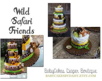Safari Diaper Cake, Jungle Diaper Cake, Safari Baby Shower, Jungle Baby Shower