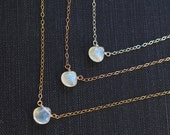 Tiny Moonstone Necklace, Available in Sterling Silver, Gold Filled and Rose Gold Filled, June Birthstone