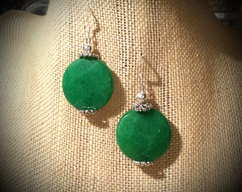 Bright Green Jade Discs with Antiqued Silver Floral Bead Caps on Sterling Silver Earrings Green Jade Sterling Silver Earrings