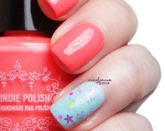 neon coral nail polish  handmade  7ml