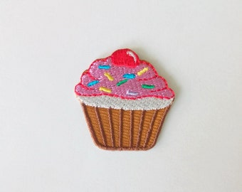 """Embroidered Tiny Cupcake Iron on Patch Badge (1 1/4"""" x 1 1/4"""")"""