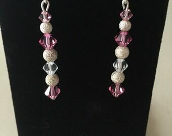 Valentine Pink Swarovski crystal Earrings