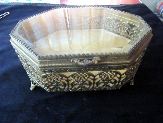 Gold jewelry box metal and glass