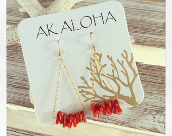 Coral Earrings Chain Earrings Shell Earrings Gold Red Coral Ocean Beach Jewelry