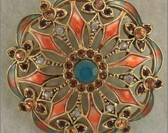 ON SALE Vintage Gold Tone Pink Blue Openwork Enameled Rhinestone Brooch Signed Monet