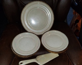 Vintage Pearl China Hand Decorated 22 Kt Gold Cake Server Set