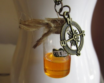 Rum Drink Charm Necklace, Pirate Jewelry, Fake Rum Alcohol Drink, Pirates Jewelry, Pirates, Jar of Rum, Jack Sparrow