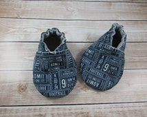 Blue Sports Tickets Baby Shoes, Baby Booties, Baby Moccasins, Crib Shoes, Baby Boy Shoes, Newborn Soft Shoes,Football, Baseball, Basketball