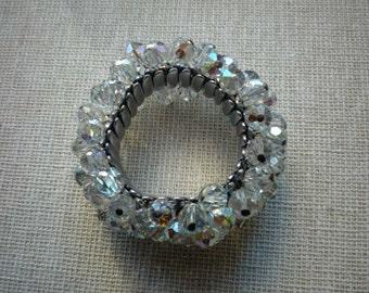 Vintage Aurora Borealis AB Crystal Bead Stretch Accordion Bracelet