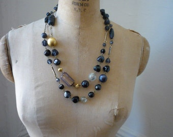 Vintage Express Hand Made Italy Chunky Black Amethyst and Gold Bead Necklace