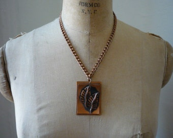 Vintage Copper Rectangular Double Leaf Necklace