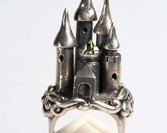 On HOLD. castle ring 'Greens Keep' OOAK