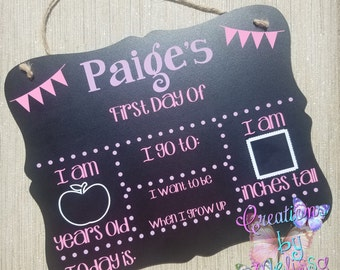 First (and/or) Last Day of School Personalized Chalkboard for Back to School
