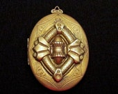 Antique Victorian Locket Stamped Repousse Ornate Goldtone Brass 2 1/4 Inches
