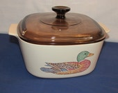 CORNING WARE MALLARD Duck Casserole A-3-B Hard to Find Pattern