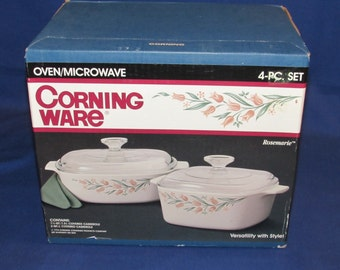 Corning Ware Rosemarie Casserole Dishes Set of 2 Includes A-1.5-B and A-2-B with lids NIB Corningware