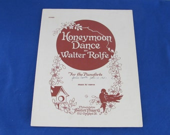 HONEYMOON DANCE by Walter Rolfe 1925 Sheet Music Ephemera