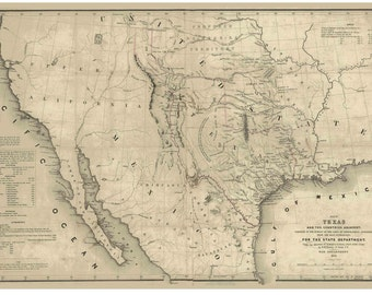 Texas 1844 State Map U S Topographical Bureau One Year Before Texas Statehood