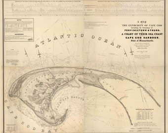 Provincetown and Truro 1836 - Map of the Extremity of Cape Cod, MA - Reprint