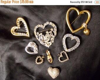 CLEARANCE Destash Lot of 9 Vintage Hearts for Crafts