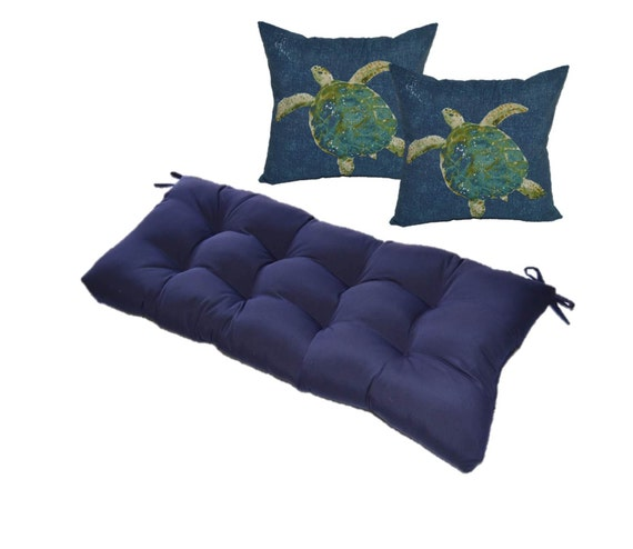Solid Navy Blue Tufted Cushion For Bench By Pillowscushionsohmy