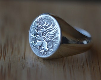 Sterling silver, Family Crest Ring, Square Gold signet ring,Coat of Arms, Signet Ring,gold,  Mens Ring, Valentines Day, Christmas Gift