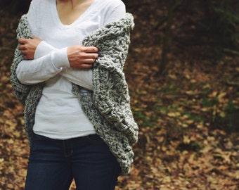 Crochet Shrug Crochet Cocoon Shrug Crochet Sweater Poncho - The Diem - in Grey Marble