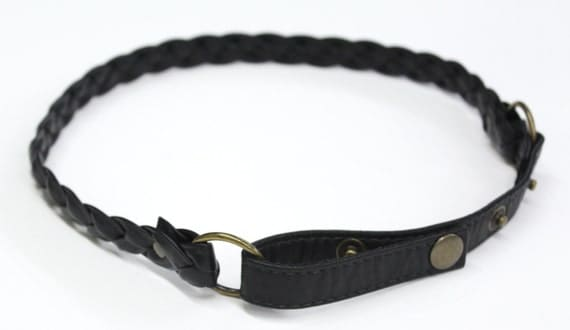 SALE - THE RAIN - plaited thin leather belt, tie at the waist - black