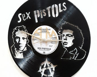 Sex Pistols Wall Art -Vinyl LP Record Clock or Framed Vinyl-Great Rock'n'Roll Gift ,Vinyl Wall Clock,Wall records clock