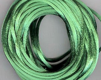 Satin Rattail Cord - Emerald 2mm cord -  Minimum Three (3) Metres - Shamballa Macrame Beading kumihimo Stringing Knotting Cord Thong