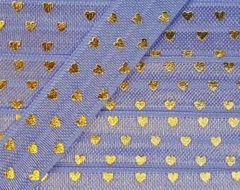 5/8 IRIS with Gold Polka Hearts Fold Over Elastic