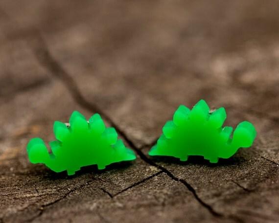 FREE SHIPPING - Green Dinosaur Stegosaurus Acrylic Earrings - Surgical Steel - Pug Jewellery - Pug Studs
