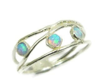 Opal ring. Opals sterling silver ring. birthday gift for her, romantic gift ideas, every day rings, opal jewelry (1574)
