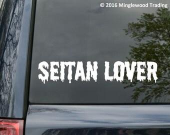 "Seitan Lover Vinyl Decal Sticker - Vegan Vegetarian Satan Wheat Gluten 8"" x 1.5"" *Free Shipping*"