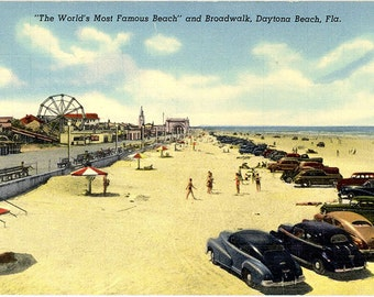 Daytona Beach Florida Boardwalk Vintage Postcard (unused)