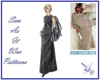 1970s Uncut A Line Day Evening Dress High Neckline Cape Caplet Vogue Couturier Design 2739 Sybil Connolly Vintage Sewing Pattern Bust 36