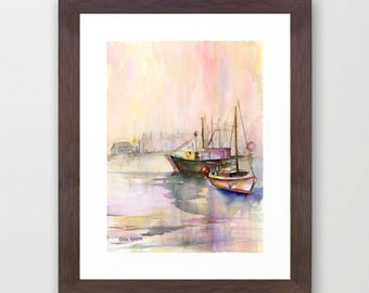 2 Ships Giclee Print of Original Watercolor Painting
