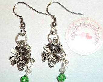 Silver Shamrock Four Leaf clover earrings, silver chain 4mm green bi-cone  glass crystals on silver french hooks