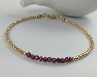 Garnet Beaded Bracelet, January Birthstone,Garnet Bracelet with Gold Filled Beads,Delicate Gold Bracelet,Stacking Bracelet,Layering Bracelet
