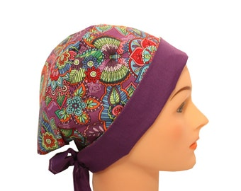 Scrub Hat Surgical Scrub Cap Chemo Hat Tie Back / Flirty Front Fold Pixie Purple Butterfly Floral Red Blue Pink Orange 2nd Item Ships FREE