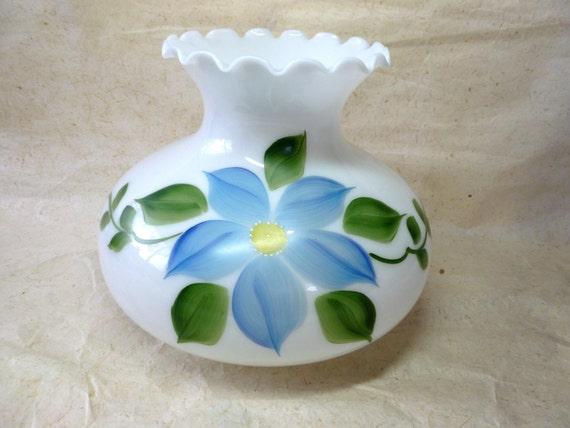 Vintage Hand Painted Milk Glass Hurricane Lamp Shade Gone