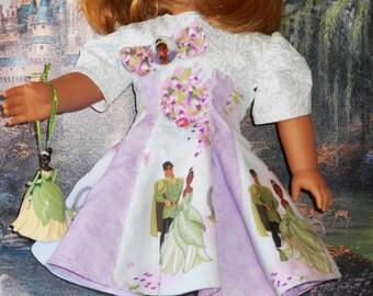 "DISNEY PRINCESS and the FROG Handmade for 18"" American Girl Doll  Dress with P.V.C. Figure of Princess Aqua Delicate 100% cotton fabric"
