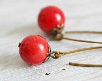 Natural Coral Earrings, Dangle Long Earrings, Coral Earrings, Red Coral Earrings Natural Stone Jewelry,Coral, Red Earrings,Everyday Earrings