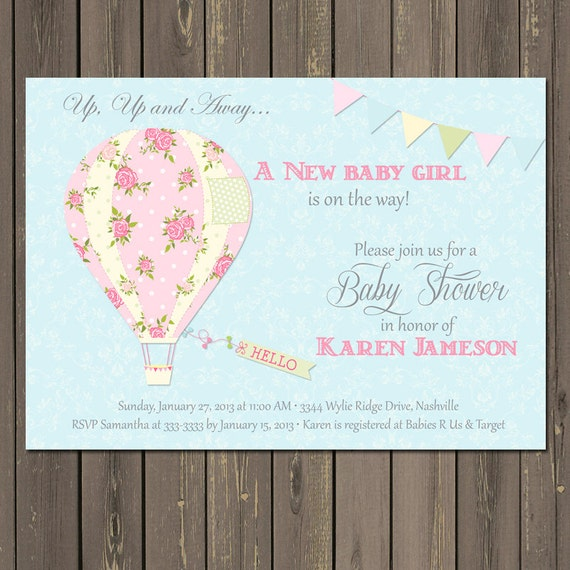 Hot Air Balloon Baby Shower Invitation, Balloon Baby Shower Invite, Shabby Chic Shower, Baby Girl Invitation, Printable