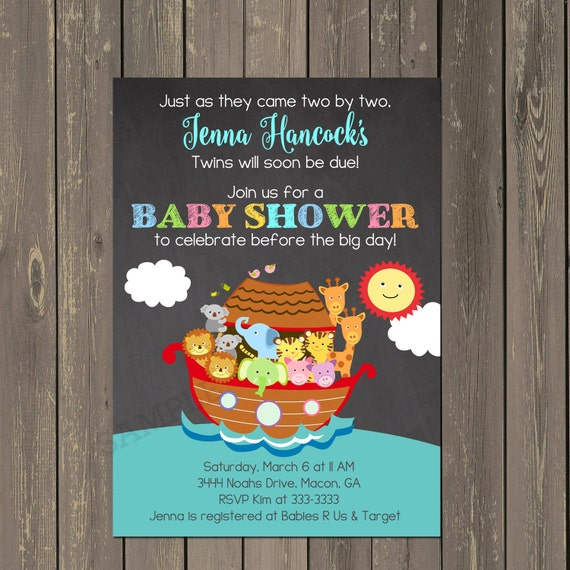 Noahs Ark Invitation Noahs Ark Baby Shower Invitation Twins Baby