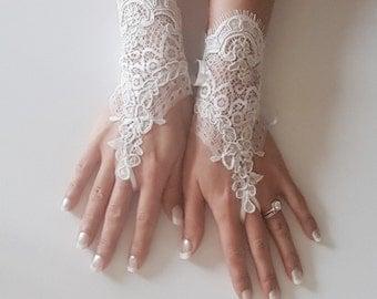 French lace fingerless glove bridal wrist cuff wedding accessories bridetobe free ship worldwide quality gauntlets