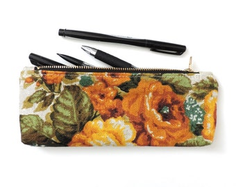 Linen Pencil Case Zipper Pencil Pouch Floral