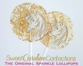 Unicorn Lollipops, Gold Silver Light Pink Lollipops, Unicorn Party, Birthday Gift, Sparkle Lollipops, Sweet Caroline Confections -Set of Six