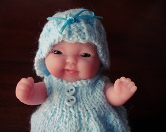 "Lots To Love, Berenguer, Miniature Tiny Doll - Too Cute For Words Baby - 5"" Tall - Blue Hand Knit Dress"